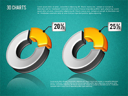 3D Pie Diagram Toolbox, Slide 12, 01611, Pie Charts — PoweredTemplate.com