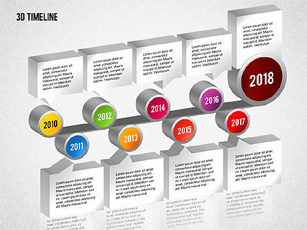 Timelines & Calendars: 3D Timeline with Textboxes #01616