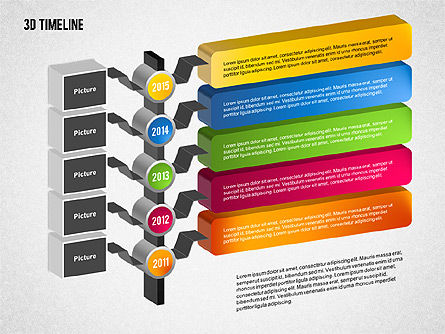 3D Timeline with Textboxes, Slide 12, 01616, Timelines & Calendars — PoweredTemplate.com