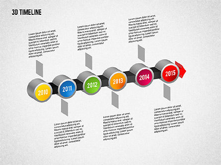 3D Timeline with Textboxes, Slide 13, 01616, Timelines & Calendars — PoweredTemplate.com