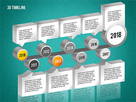 3D Timeline with Textboxes, Slide 14, 01616, Timelines & Calendars — PoweredTemplate.com