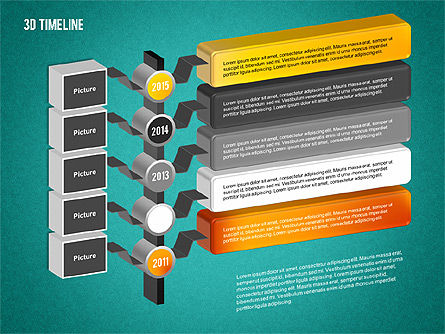 3D Timeline with Textboxes, Slide 15, 01616, Timelines & Calendars — PoweredTemplate.com