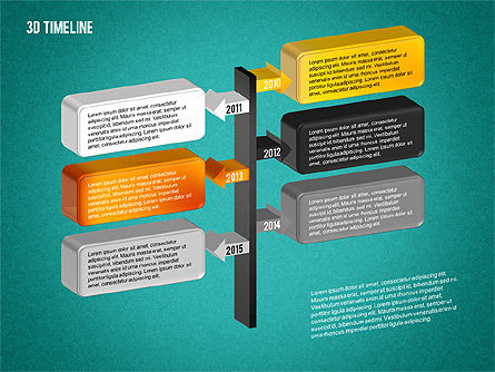 3D Timeline with Textboxes, Slide 16, 01616, Timelines & Calendars — PoweredTemplate.com