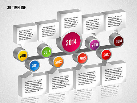 3D Timeline with Textboxes, Slide 5, 01616, Timelines & Calendars — PoweredTemplate.com