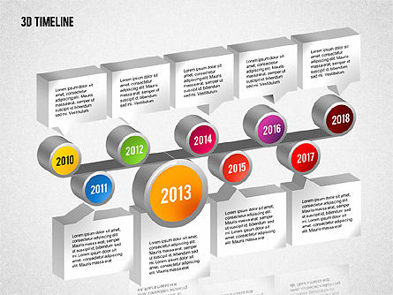 3D Timeline with Textboxes, Slide 6, 01616, Timelines & Calendars — PoweredTemplate.com