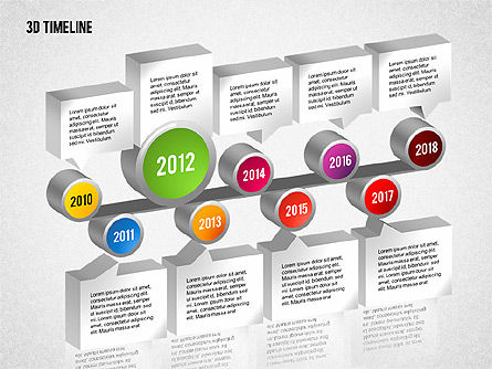 3D Timeline with Textboxes, Slide 7, 01616, Timelines & Calendars — PoweredTemplate.com