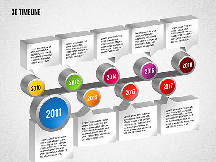 3D Timeline with Textboxes, Slide 8, 01616, Timelines & Calendars — PoweredTemplate.com