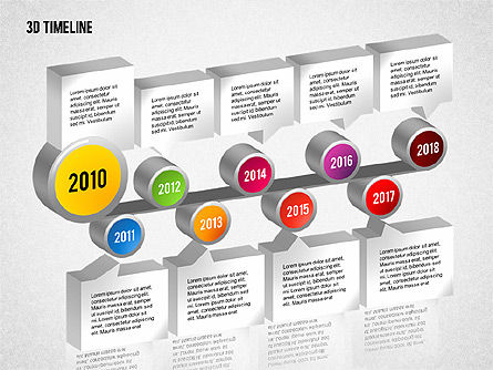 3D Timeline with Textboxes, Slide 9, 01616, Timelines & Calendars — PoweredTemplate.com