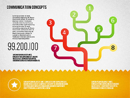 Communication Concept Diagram and Shapes, Slide 12, 01651, Shapes — PoweredTemplate.com