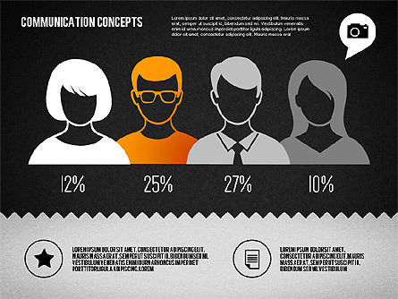Communication Concept Diagram and Shapes, Slide 16, 01651, Shapes — PoweredTemplate.com