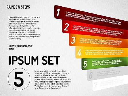 Rainbow Colored Steps Diagram, Slide 5, 01659, Stage Diagrams — PoweredTemplate.com