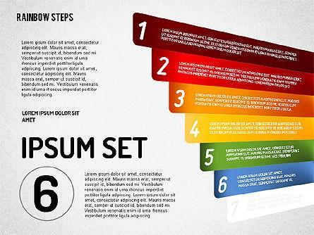 Rainbow Colored Steps Diagram, Slide 6, 01659, Stage Diagrams — PoweredTemplate.com