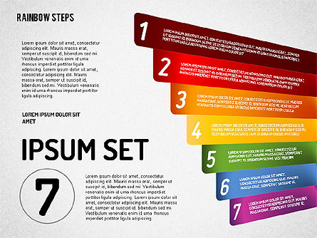 Rainbow Colored Steps Diagram, Slide 7, 01659, Stage Diagrams — PoweredTemplate.com