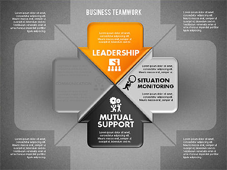 Business Teamwork Process, Slide 11, 01677, Process Diagrams — PoweredTemplate.com