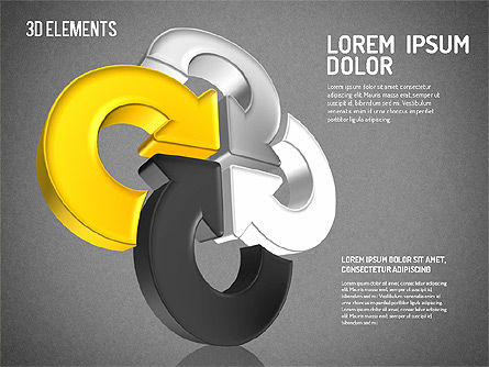 Colorful 3D Directions Shapes, Slide 14, 01678, Shapes — PoweredTemplate.com