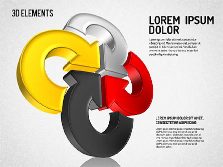 Colorful 3D Directions Shapes, Slide 6, 01678, Shapes — PoweredTemplate.com