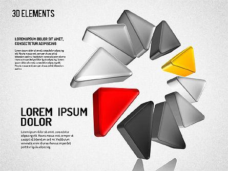 Colorful 3D Directions Shapes, Slide 7, 01678, Shapes — PoweredTemplate.com