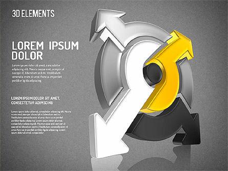 Colorful 3D Directions Shapes, Slide 9, 01678, Shapes — PoweredTemplate.com
