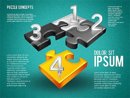 Four Puzzle Pieces, Slide 10, 01707, Puzzle Diagrams — PoweredTemplate.com