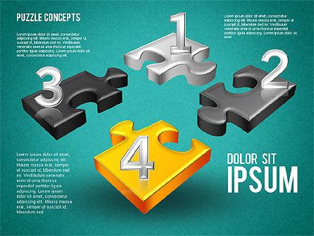 Four Puzzle Pieces, Slide 12, 01707, Puzzle Diagrams — PoweredTemplate.com