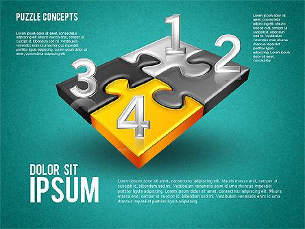 Four Puzzle Pieces, Slide 9, 01707, Puzzle Diagrams — PoweredTemplate.com