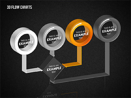 3D Flow Charts with Circles, Slide 10, 01720, Flow Charts — PoweredTemplate.com