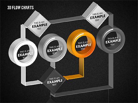 3D Flow Charts with Circles, Slide 11, 01720, Flow Charts — PoweredTemplate.com