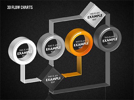 3D Flow Charts with Circles, Slide 12, 01720, Flow Charts — PoweredTemplate.com