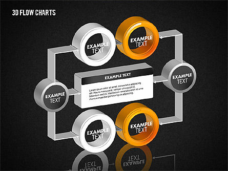 3D Flow Charts with Circles, Slide 14, 01720, Flow Charts — PoweredTemplate.com