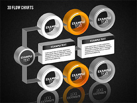 3D Flow Charts with Circles, Slide 15, 01720, Flow Charts — PoweredTemplate.com