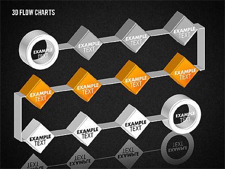 3D Flow Charts with Circles, Slide 16, 01720, Flow Charts — PoweredTemplate.com