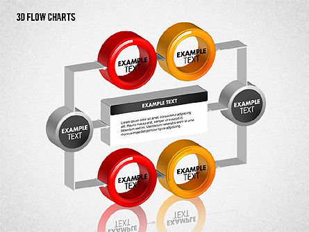 3D Flow Charts with Circles, Slide 6, 01720, Flow Charts — PoweredTemplate.com