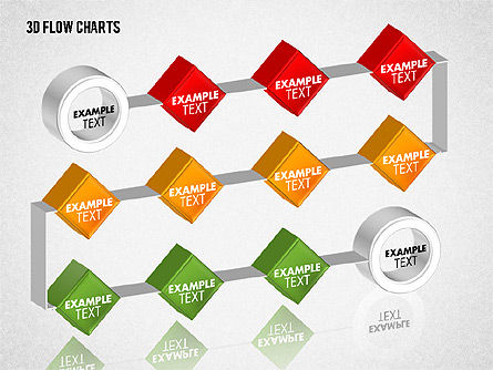 3D Flow Charts with Circles, Slide 8, 01720, Flow Charts — PoweredTemplate.com