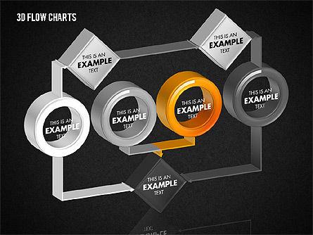 3D Flow Charts with Circles, Slide 9, 01720, Flow Charts — PoweredTemplate.com