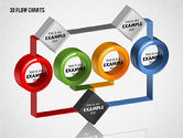 Flow Charts: 3D Flow Charts with Circles #01720