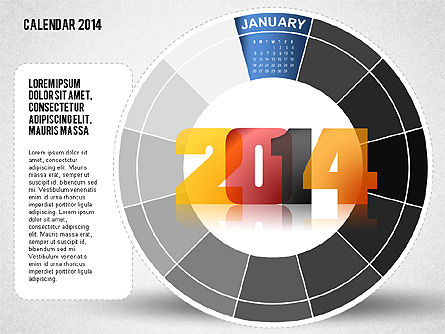 Timelines & Calendars: 2014 Calendário do PowerPoint #01747