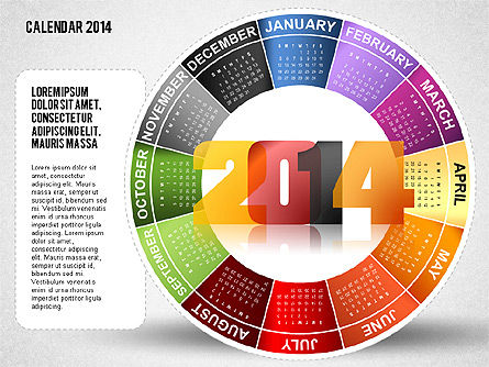 2014 PowerPoint Calendar, Slide 12, 01747, Timelines & Calendars — PoweredTemplate.com