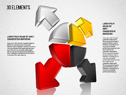 3D Direction Shapes, Slide 4, 01748, Shapes — PoweredTemplate.com
