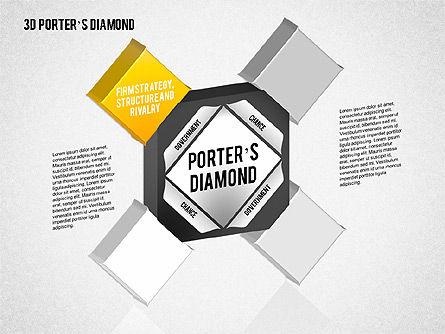 3D Porter's Diamond Diagram, Slide 2, 01765, Business Models — PoweredTemplate.com