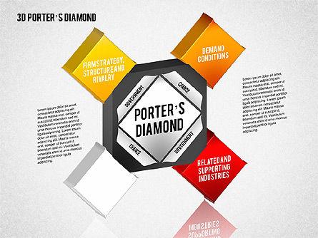 3D Porter's Diamond Diagram, Slide 4, 01765, Business Models — PoweredTemplate.com