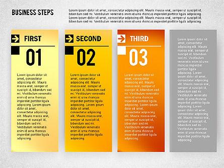 Business Steps Agenda, Slide 3, 01772, Business Models — PoweredTemplate.com