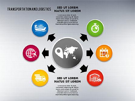 Transportation and Logistics Process with Icons, Slide 3, 01773, Business Models — PoweredTemplate.com