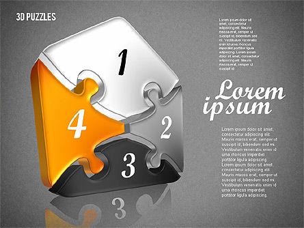 Puzzle Shapes in 3D, Slide 10, 01774, Puzzle Diagrams — PoweredTemplate.com