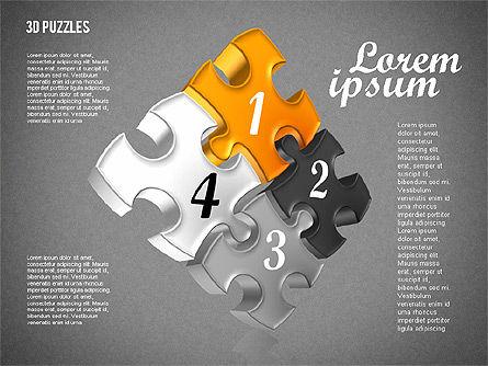 Puzzle Shapes in 3D, Slide 11, 01774, Puzzle Diagrams — PoweredTemplate.com