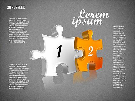 Puzzle Shapes in 3D, Slide 14, 01774, Puzzle Diagrams — PoweredTemplate.com