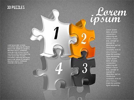 Puzzle Shapes in 3D, Slide 16, 01774, Puzzle Diagrams — PoweredTemplate.com
