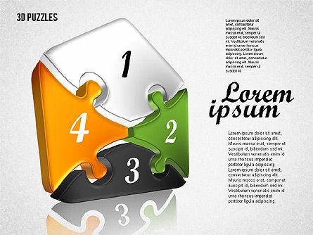 Puzzle Shapes in 3D, Slide 2, 01774, Puzzle Diagrams — PoweredTemplate.com