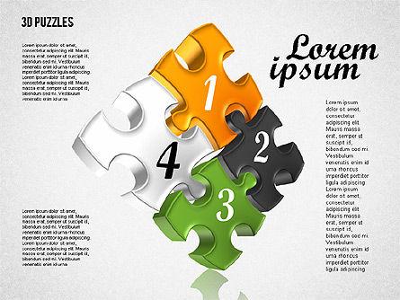 Puzzle Shapes in 3D, Slide 3, 01774, Puzzle Diagrams — PoweredTemplate.com