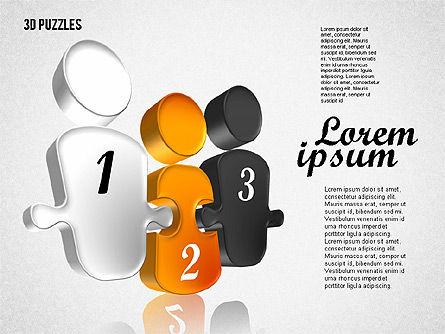 Puzzle Shapes in 3D, Slide 5, 01774, Puzzle Diagrams — PoweredTemplate.com