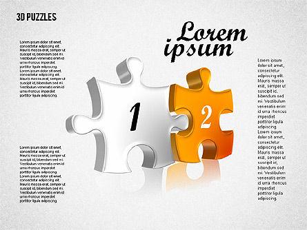 Puzzle Shapes in 3D, Slide 6, 01774, Puzzle Diagrams — PoweredTemplate.com